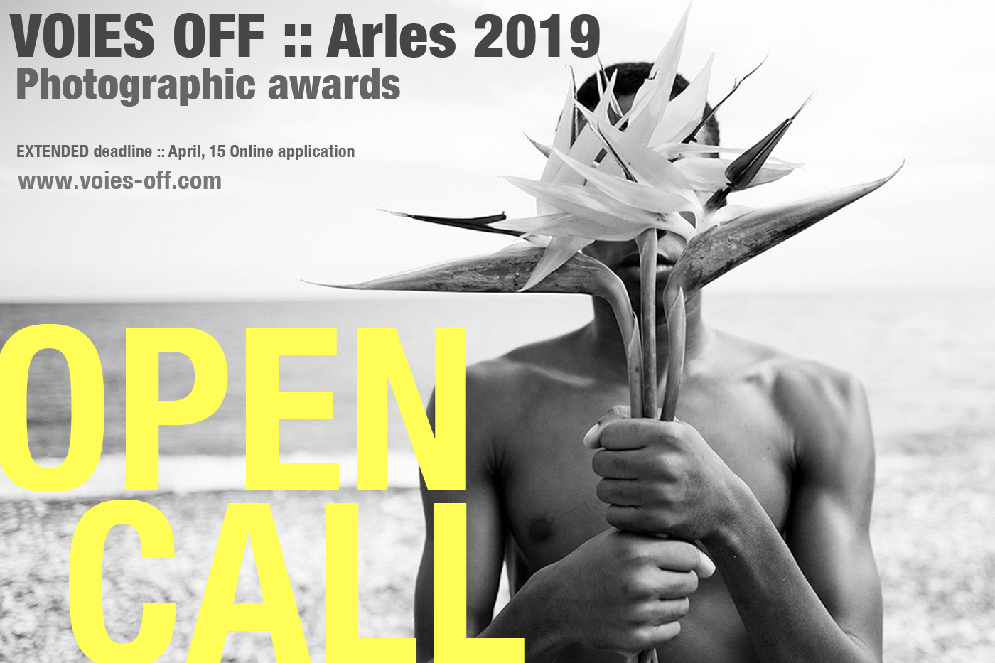 Banner for open call voies off 2019 black and white photo