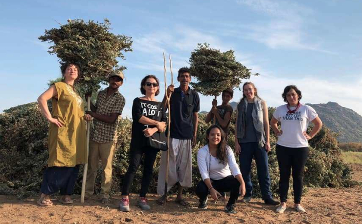Image of artists and local hosts in Rajasthan at Farm Studio residency