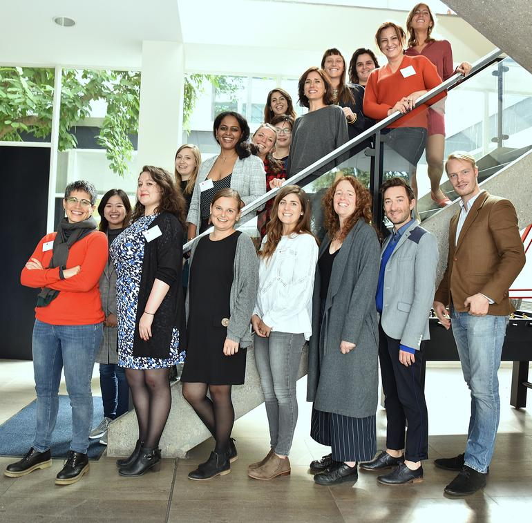 Image of Frankfurt Fellowship publishing fellows 2018 - a group of predominantly young women and two men on a staircase.