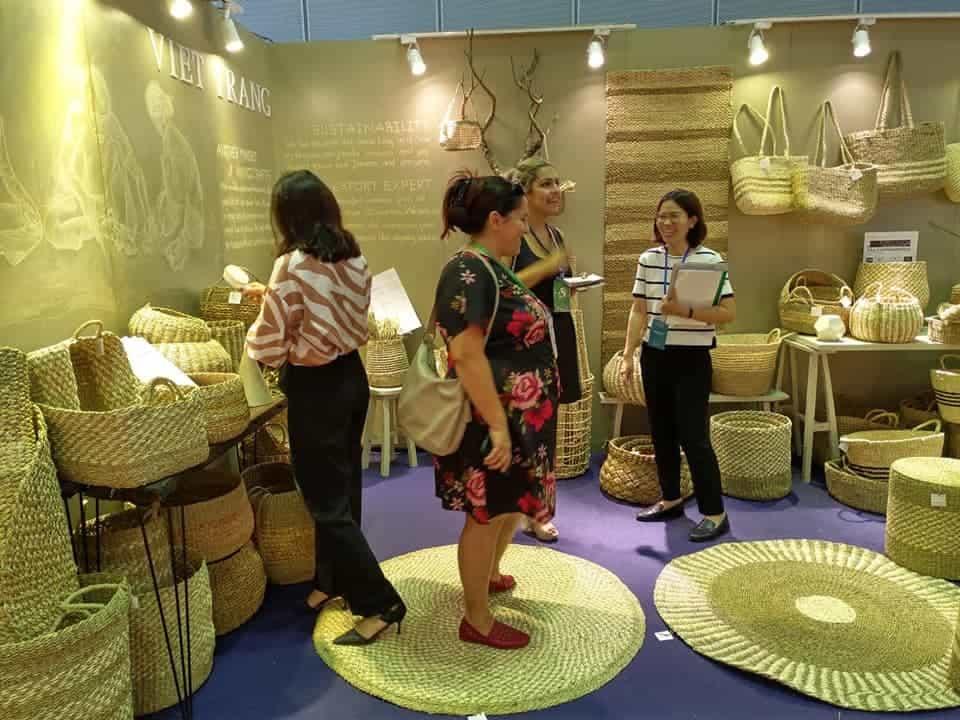 Stand at Viet nam lifestyle fair with baskets and woven goods