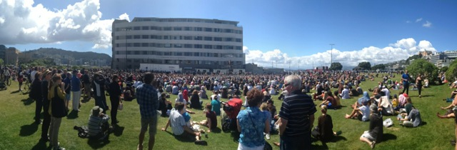 25 Feb 2pm crowds gather on the waterfront  in Wellington for Arcane acrobatics