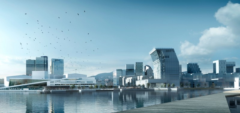 Illustration of Bjørvika with the Opera House to the left and the new waterfront Munch Museum to the right. (C) MIR