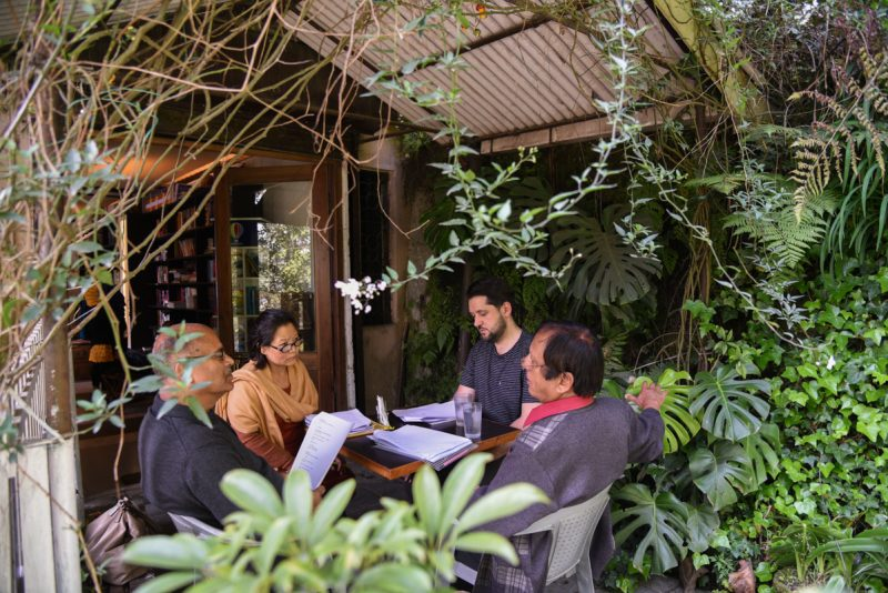 02_L-R_RajendraBhandari(poet), Sudha Rai(poet), Christian Filips(poet), Michael Chand(translator) working together in Gangtok_(c)Goethe-Institut by YawanRai