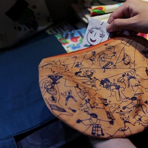 Tohe pouch with Nem's drawings