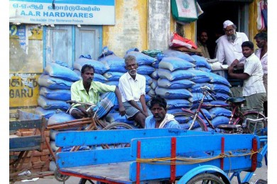 Resting men at work in Chennai