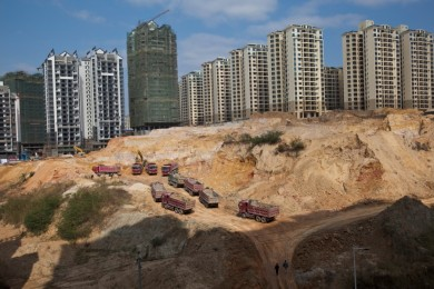 A construction site in downtown area of capital city Nanning , China. 06 Jan  2011