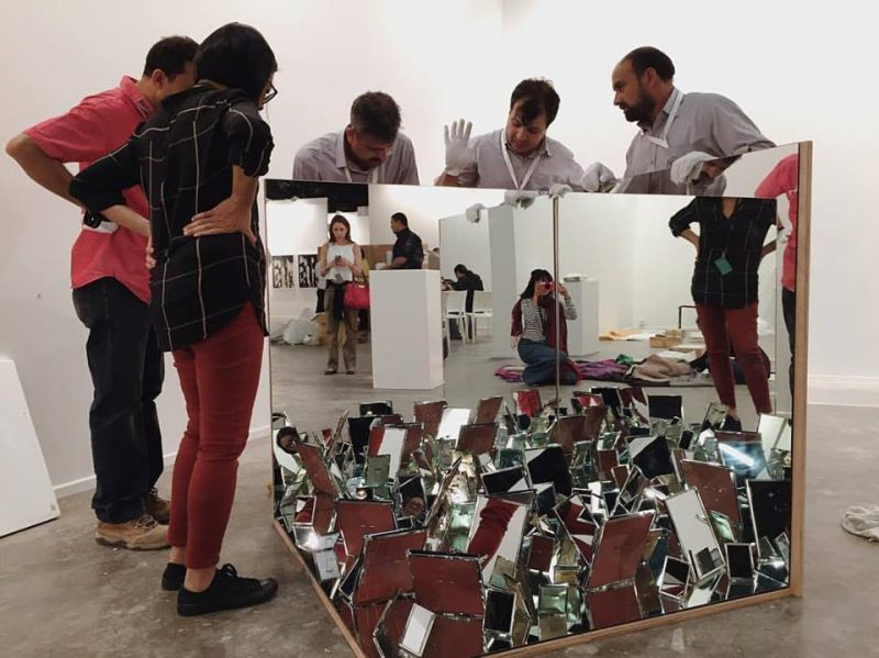 Installing Roberto Chabet's The Trap (2010), Art Dubai, Marker 2016