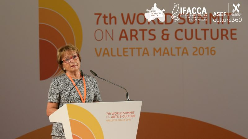 The absence of a common EU policy remains a major challenge for culture in Europe: Doris Pack, former Chair, European Parliamentary Committee on Culture and Education & keynote speaker at the Summit. Photo credit: Piero Zilio